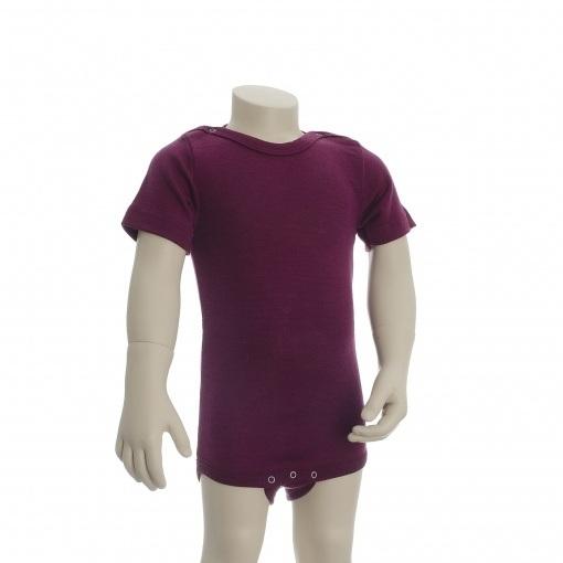 Økologisk body med korte ærmer. Engel body i bordeaux uld silke.