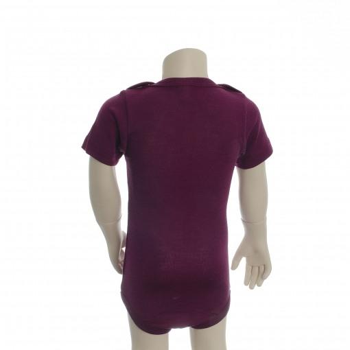 Økologisk body med korte ærmer. Engel body i bordeaux uld silke. Set fra bagsiden.