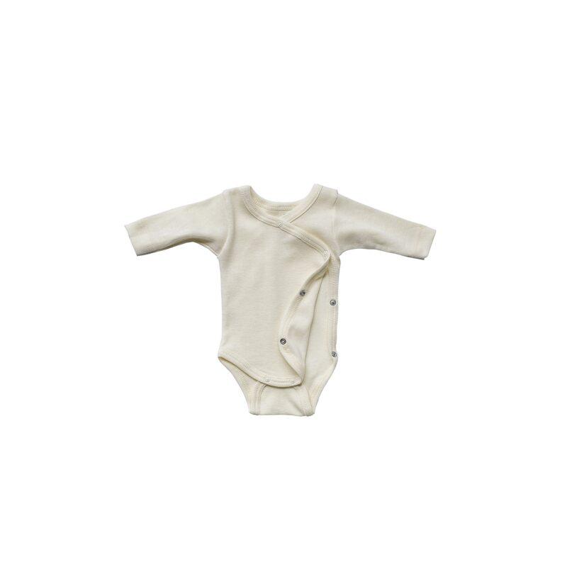 Økologisk body til præmatur baby. Body med lange ærmer og slå om. Hvis uld silke fra Engel.