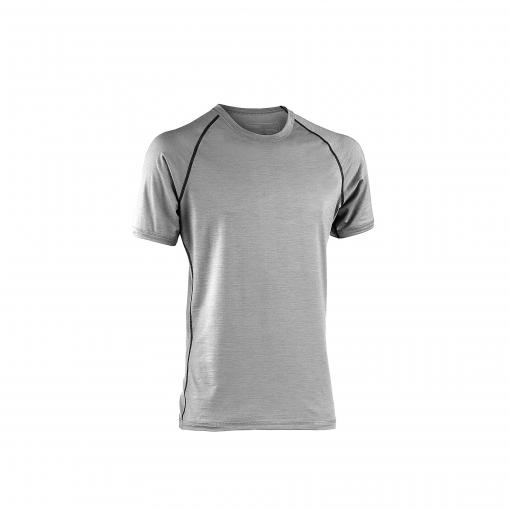 Økologisk løbe t-shirt i grå uld silke til sommerbrug. Regular fit. Engel GOTS.