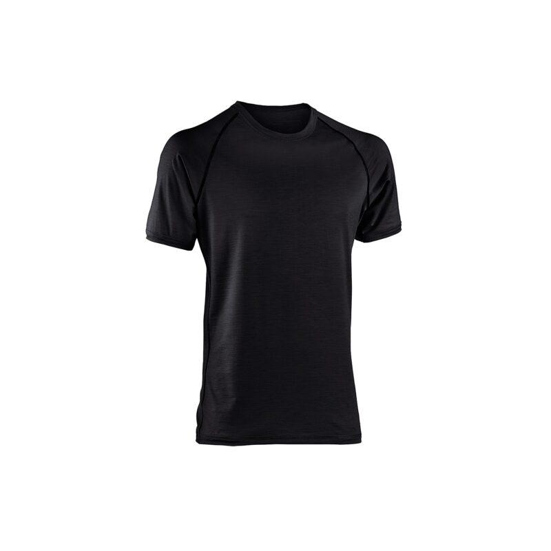 Økologisk løbe t-shirt i sort uld silke til sommerbrug. Regular fit. Engel GOTS.