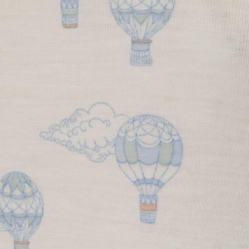 Sommerdragt i Svanemærket uld fra Joha. Detalje af blå print.