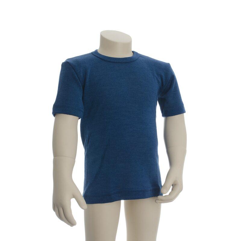 Økologisk t-shirt til barn. Blå uld silke t-shirt fra Engel.