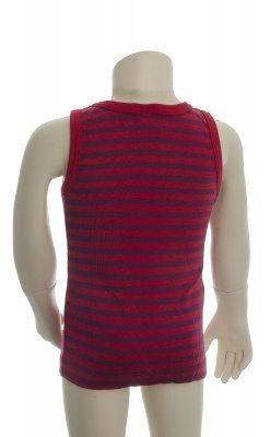 Økologisk undertrøje med røde striber. Bagsiden.