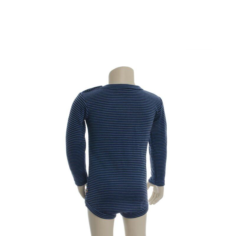 Langærmet body fra Joha. Body i 100% svanemærket uld. Blå smalle striber. Bagsiden.