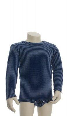 Langærmet body fra Joha. Body i 100% svanemærket uld. Blå smalle striber.