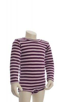 Joha body med lange ærmer. Brede rosa striber. 100% uld. Svanemærket body.