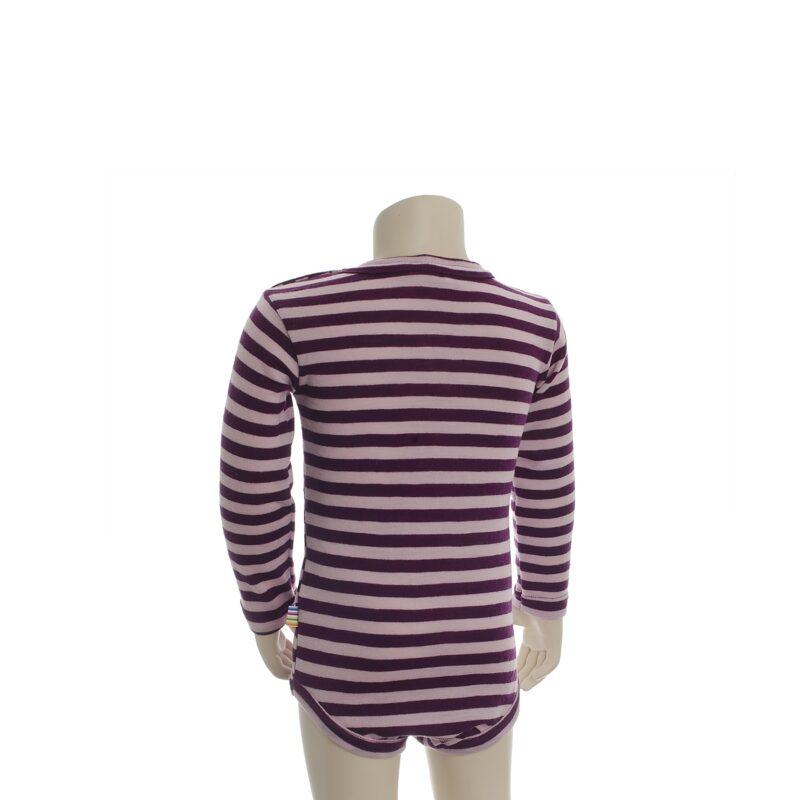 Joha body med lange ærmer. Brede rosa striber. 100% uld. Svanemærket body. Bagsiden.