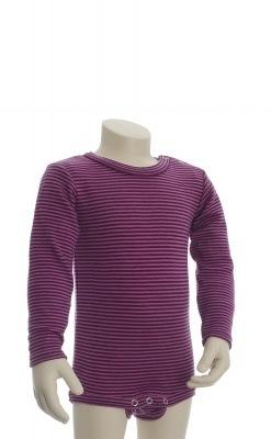Langærmet body fra Joha. Body i 100% svanemærket uld. Røde og rosa smalle striber.