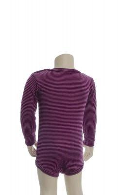 Langærmet body fra Joha. Body i 100% svanemærket uld. Røde og rosa smalle striber. Bagsiden.