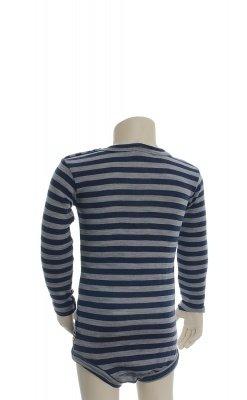 Joha body med lange ærmer. Brede blå og grå striber. 100% uld. Svanemærket body. Bagsiden.