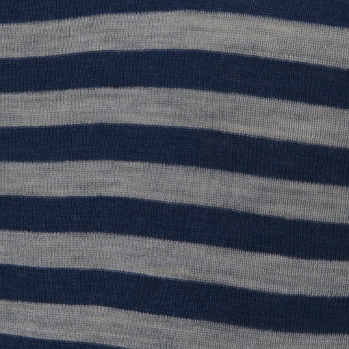 Joha body med lange ærmer. Brede blå og grå striber. 100% uld. Svanemærket body. Detalje af mønster.