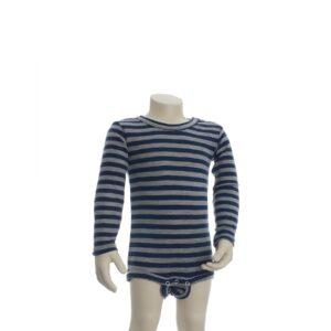 Joha body med lange ærmer. Brede blå og grå striber. 100% uld. Svanemærket body.