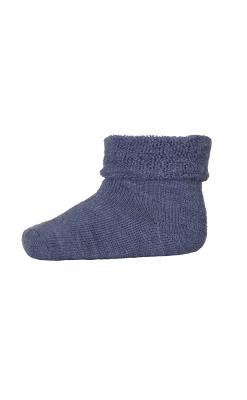 Babystrømpe med frotté indvendigt. 80% uld. Blå strømpe i Oeko-Tex. MP.