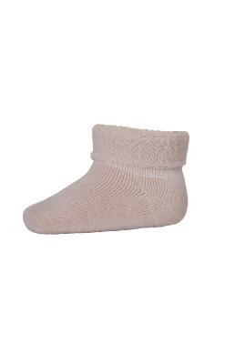 Babystrømpe med frotté indvendigt. 80% uld. Rosa strømpe i Oeko-Tex. MP.