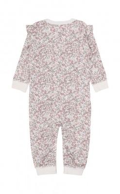 Heldragt i blomstermønstret uld silke fra Hust & Claire. Bagsiden.