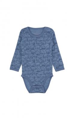 Hust & Claire body med lange ærmer. Blåmeleret merinould med print af isbjørne. Oeko-Tex.