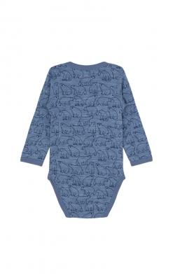 Hust & Claire body med lange ærmer. Blåmeleret merinould med print af isbjørne. Oeko-Tex. Bagsiden.