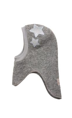 Huttelihut elefanthue i grå uldfilt. 2 stjerner med glimmer på venstre side.