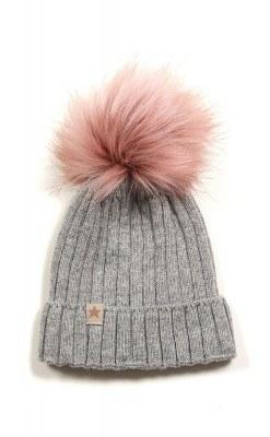 Huttelihut hue i grå uld med kvas i rosa fake fur.