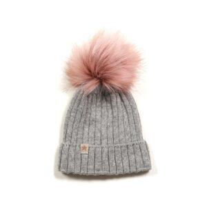 9c95da9df82 Huttelihut hue i grå uld med kvas i rosa fake fur.