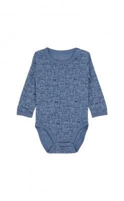 Langærmet body i uld silke. Blåmeleret med print af spøgelser. Oeko-Tex certificeret. Hust & Claire.