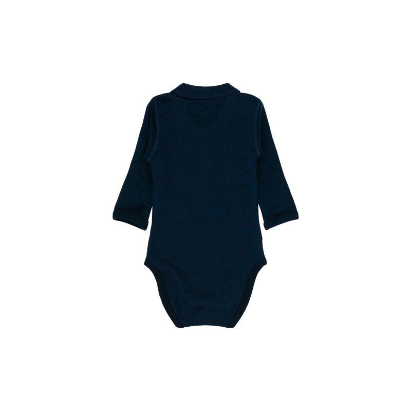 Langærmet body i marineblå uld bambus. Bodyen har en krave. Hust & Claire. Bagsiden.