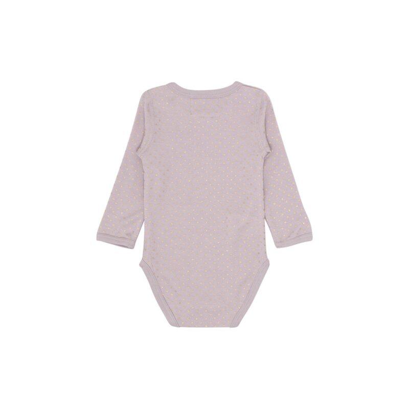 Langærmet body i rosa uld bambus. Print af guldstjerner. Hust & Claire. Bagsiden.