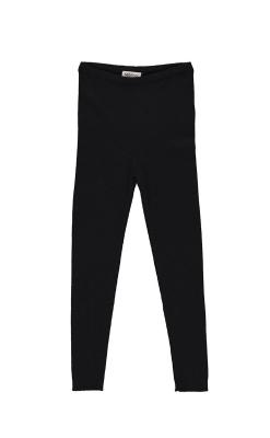 MarMar leggings i 100% merinould. Ribstrik. Sort.