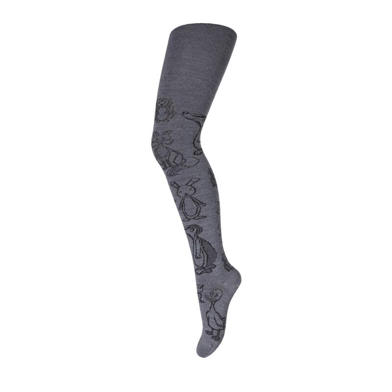 Strømpebukser med fint dyremotiv. Strømpebukserne er mørkegrå og i 80% uld. MP.