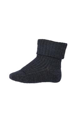 Strømpe i uld. Mørkegrå uldstrømpe fra MP. Ribstrik og Oeko-Tex.