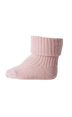 Strømpe i uld. Rosa uldstrømpe fra MP. Ribstrik og Oeko-Tex.
