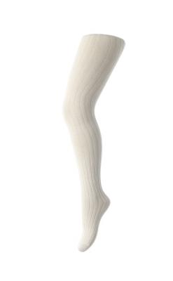 Strømpebukser i ribstrik. Hvid uld - Oeko-Tex. MP