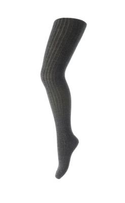 Strømpebukser i ribstrik. Mørkegrå uld - Oeko-Tex. MP
