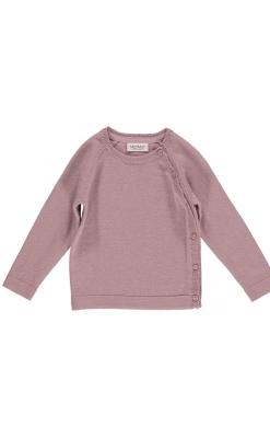 MarMar slå-om bluse med knapper. Støvet rosa uld og bomuld.