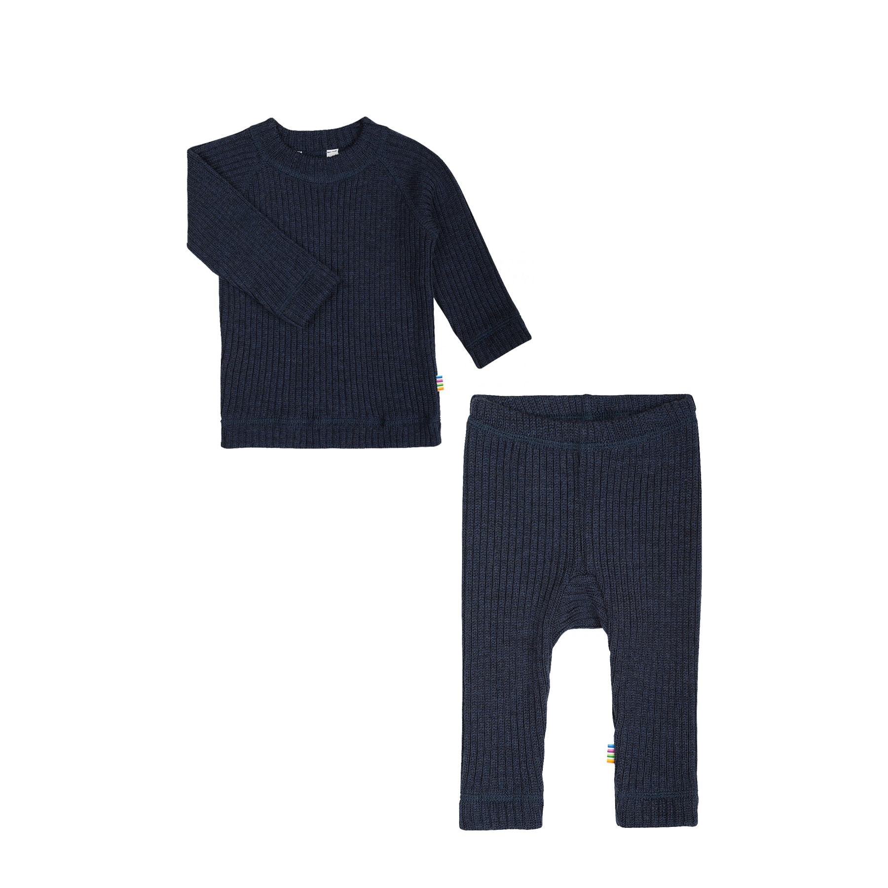 deca823c Bluse og bukser i uld - Tyk uld i ribstrik - fra Joha - Mørkeblå