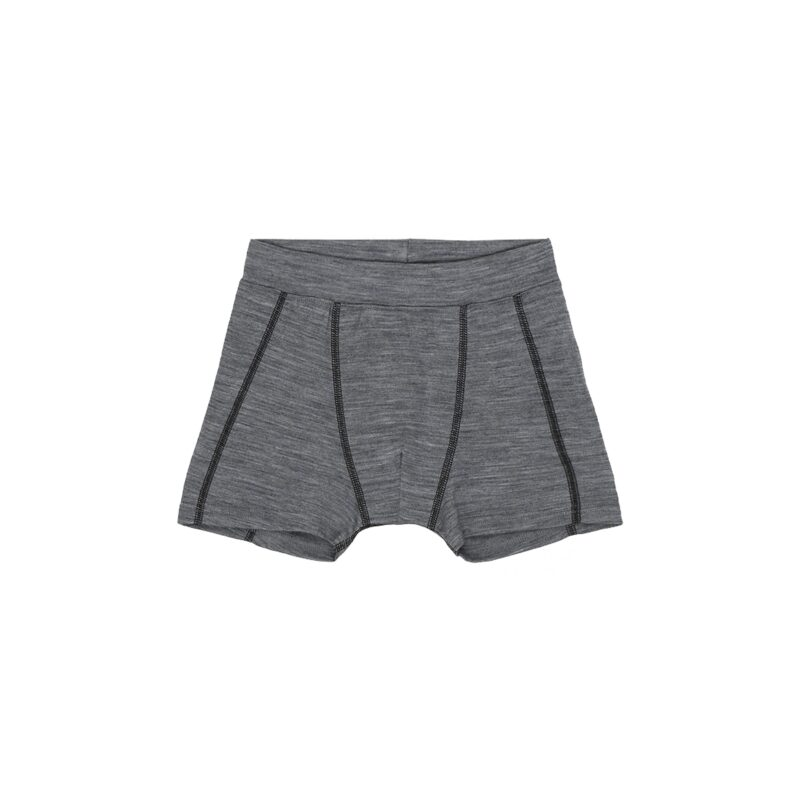 Boxershorts til dreng i grå meleret uld silke. Oeko-Tex. Hust & Claire.
