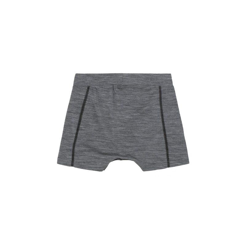 Boxershorts til dreng i grå meleret uld silke. Bagsiden.