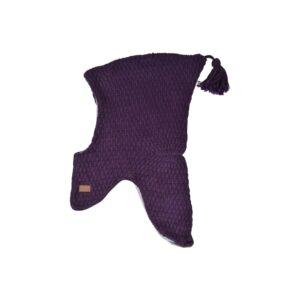Elefanthue i uld fra Melton. Med kvast og vindstop. Mørk lilla.