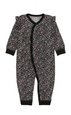 Heldragt i sort blomstermønstret uld silke fra Hust & Claire. Oeko-Tex