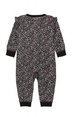 Heldragt i sort blomstermønstret uld silke fra Hust & Claire. Oeko-Tex. Bagsiden.