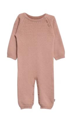 Natdragt i sømandsstrik. Støvet rosa uld bomuld natdragt med knapper. Wheat.