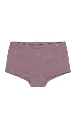 Hipsters til pige i uld silke. Fin blondekant. Støvet rosa. Oeko-Tex.