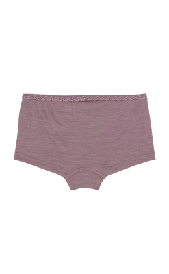 Hipsters til pige i uld silke. Fin blondekant. Støvet rosa. Bagsiden.