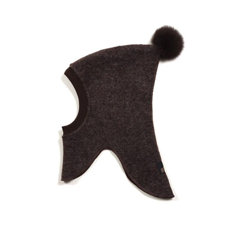 Huttelihut elefanthue med 1 kvast i toppen. Mørkebrun uld.