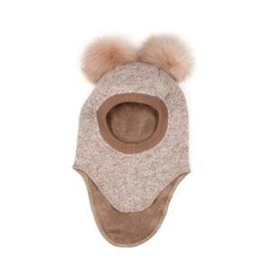 Huttelihut elefanthue med 2 kvaste. Camel uld og kvaste.