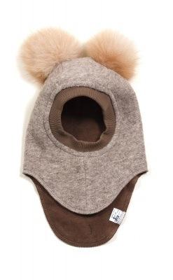 Huttelihut elefanthue med 2 kvaste. Brun uld og kvaste.