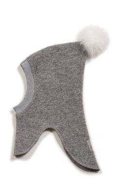 Huttelihut elefanthue med 1 kvast i toppen. Grå uld.