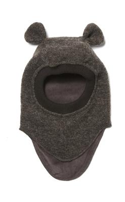 Huttelihut elefanthue med ører. Mørkebrun.