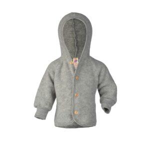Jakke til barn i grå uldfleece. Økologisk uld jakke fra Engel.